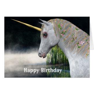 Unicornio y tarjeta de cumpleaños de la fantasía