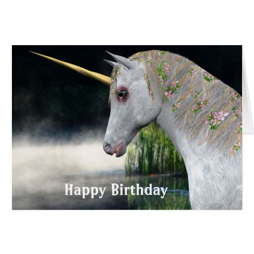 Unicornio y tarjeta de cumpleaños de la fantasía d