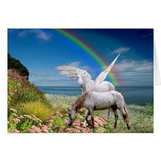 Unicornio y tarjeta de cumpleaños de Pegaso