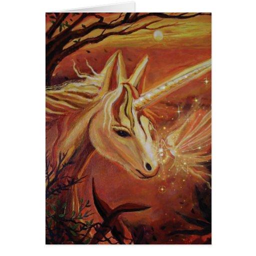 """Unicornio y tarjeta del arte de la hada """"que encue"""
