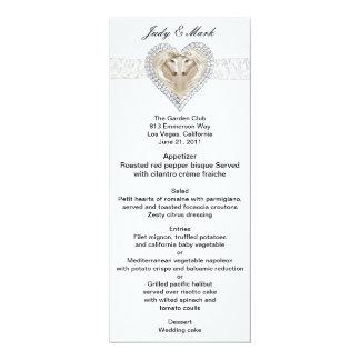 """Unicornio y tarjeta del menú del boda del cordón invitación 4"""" x 9.25"""""""
