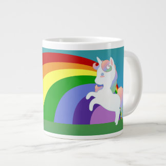 Unicornio y taza de la especialidad del arco iris taza grande