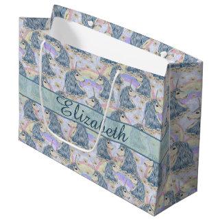 Unicornios azules de encargo a personalizar bolsa de regalo grande