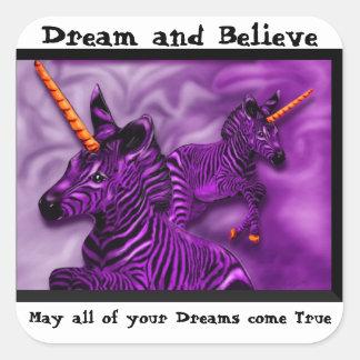 Unicornios de la cebra con el refrán inspirado pegatina cuadradas personalizadas
