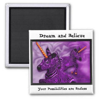 Unicornios de la cebra con una nota inspirada imanes