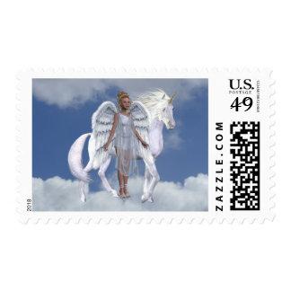 Unicornios de los fae de los ángeles sello postal