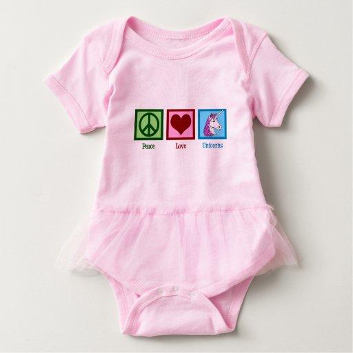 Unicornios del amor de la paz body para bebé