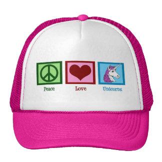 Unicornios del amor de la paz gorros bordados