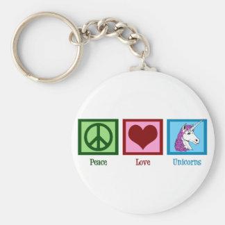 Unicornios del amor de la paz llavero