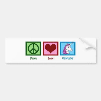 Unicornios del amor de la paz pegatina para auto