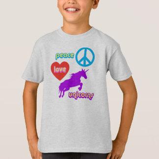 Unicornios del amor de la paz playera