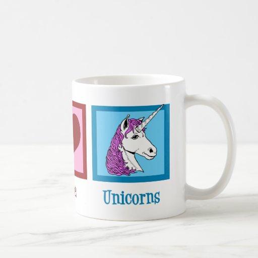 Unicornios del amor de la paz tazas
