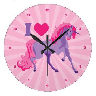 Unicornios del amor del corazón del rosa y de la p reloj de pared
