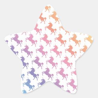 Unicornios del arco iris pegatina en forma de estrella