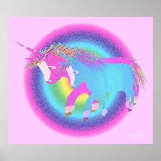 Unicornios del arco iris póster