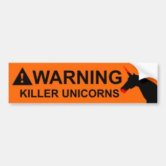 Unicornios del asesino pegatina de parachoque