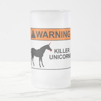 Unicornios del asesino jarra de cerveza esmerilada