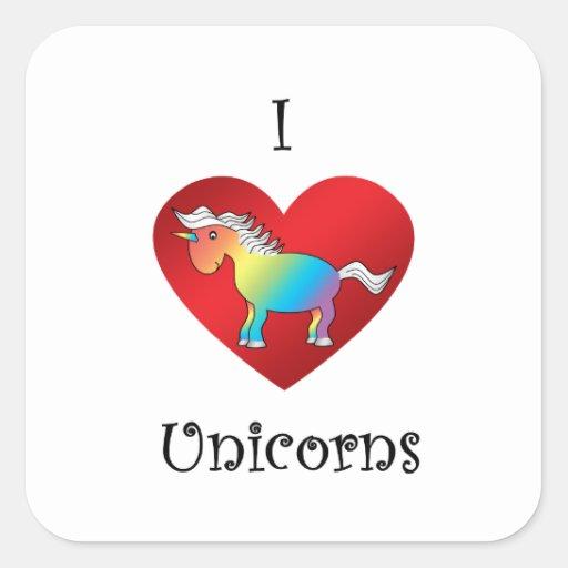 Unicornios del corazón I en arco iris y blanco Pegatina Cuadrada