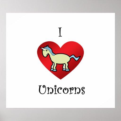 Unicornios del corazón I en argyle amarillo y azul Poster