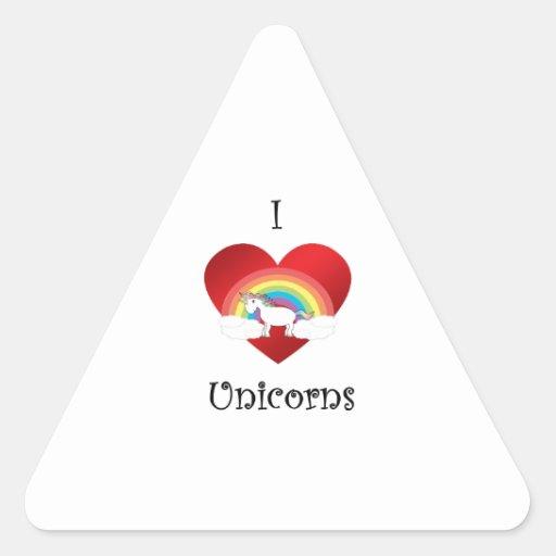 Unicornios del corazón I en el arco iris y las nub Pegatinas De Triangulo Personalizadas