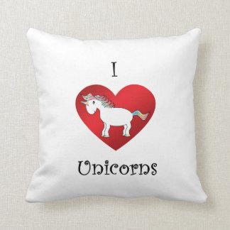 Unicornios del corazón I en el azul amarillo rosad Almohadas