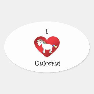 Unicornios del corazón I en la púrpura blanca del Pegatinas De Óval