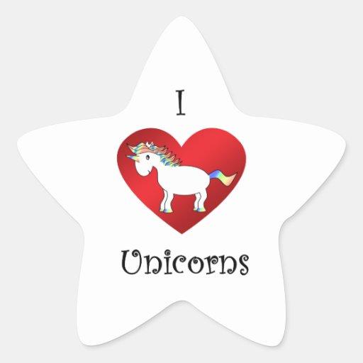 Unicornios del corazón I en la púrpura blanca del Pegatina En Forma De Estrella