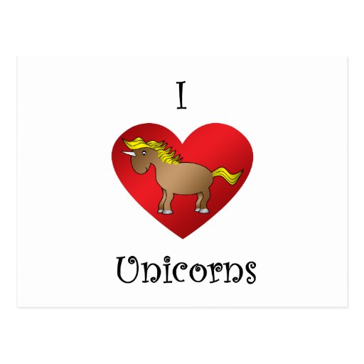 Unicornios del corazón I en marrón Postal