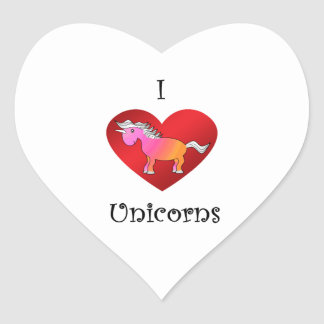 Unicornios del corazón I en rosa y naranja Pegatina En Forma De Corazón