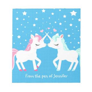 Unicornios en la libreta del amor adaptable blocs de notas