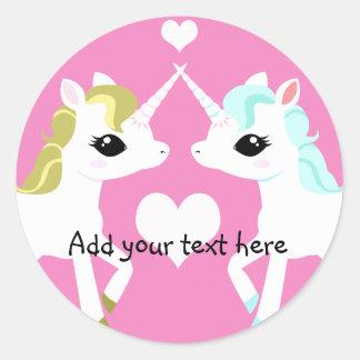 Unicornios en pegatina adaptable del amor