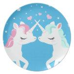 Unicornios en placa del amor plato para fiesta
