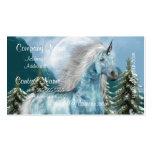 Unicornios en tarjetas de visita del claro de luna