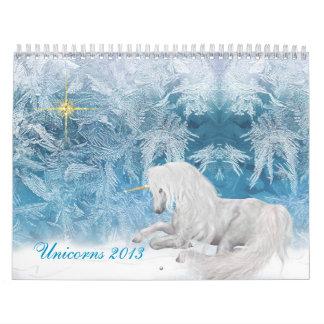 Unicornios hermosos en calendario del hielo 2013