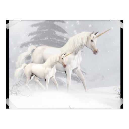 Unicornios lindos en la nieve 1 postales