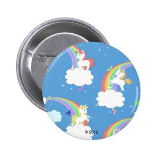 Unicornios lindos y arco iris pin redondo 5 cm