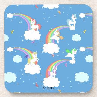 Unicornios lindos y arco iris posavaso