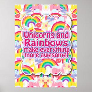 ¡Unicornios y arco iris el poster! Póster