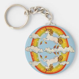 Unicornios y arco iris llavero redondo tipo pin