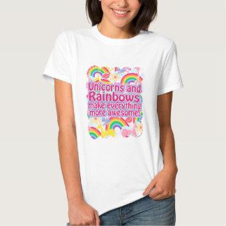 Unicornios y arco iris playera