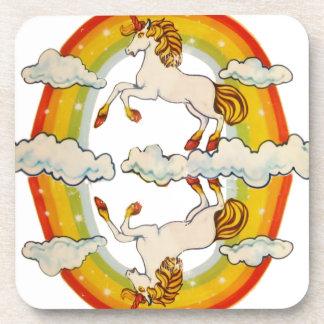 Unicornios y arco iris posavaso
