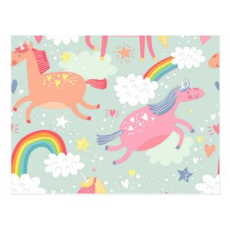 Unicornios y arco iris postal