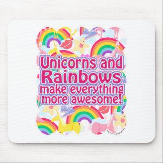 Unicornios y arco iris alfombrilla de ratón