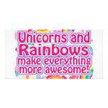 Unicornios y arco iris tarjeta personal con foto