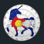"""Unicorns and Colorado! Dart Board<br><div class=""""desc"""">Two things most people can&#39;t get enough of,  Colorado and Unicorns! Get this unique design that combines the Colorado pride inside a majestic Unicorn.</div>"""