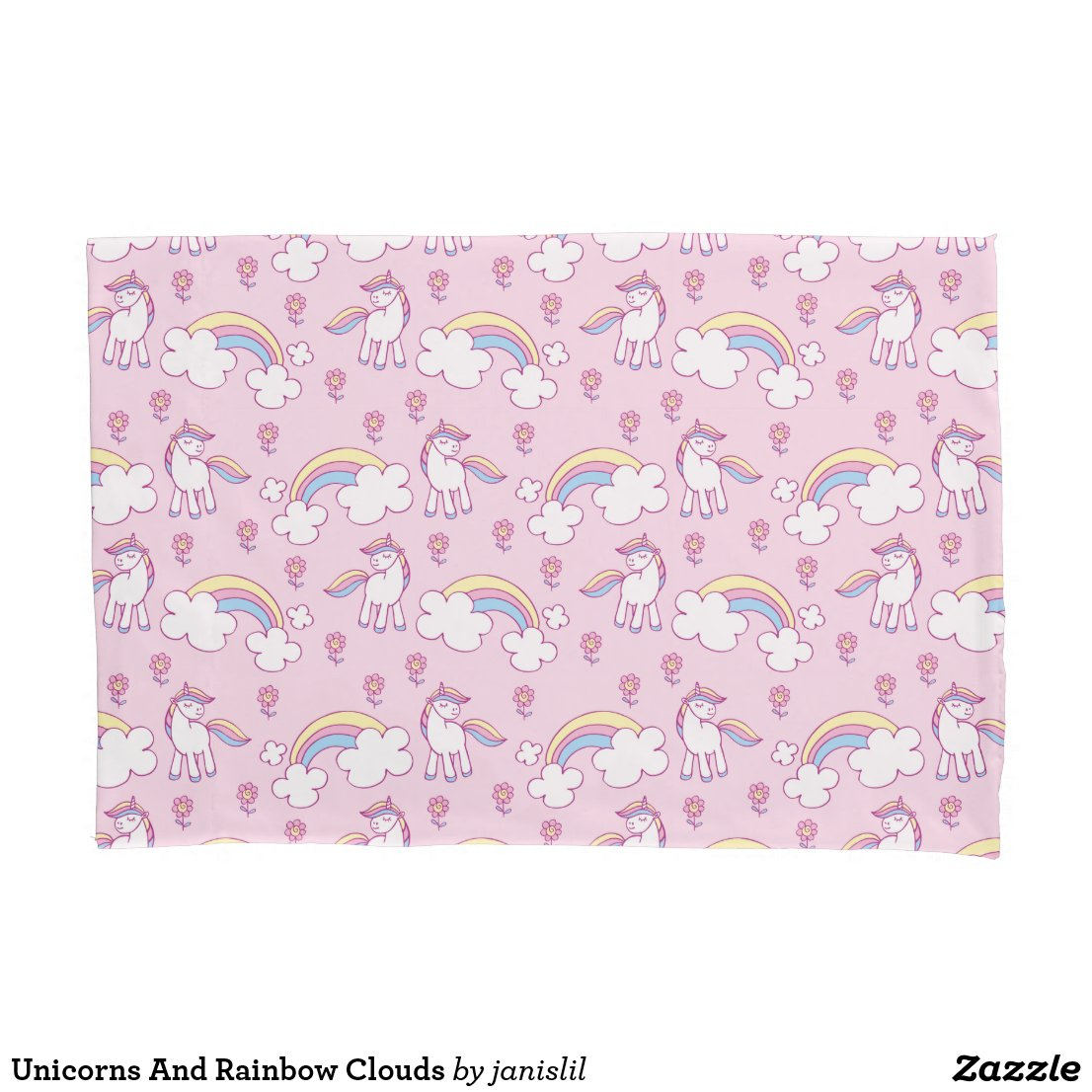 Unicorns And Rainbow Clouds Pillow Case