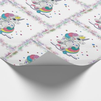 Unicorns and Rainbow Glitter Wrapping Paper