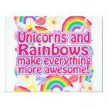 Unicorns and Rainbows 4.25x5.5 Paper Invitation Card
