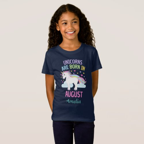 Unicorns are Born In August Personalized Name T_Shirt
