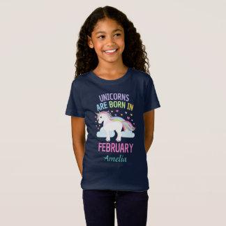 Unicorns are Born In February Personalized T-Shirt